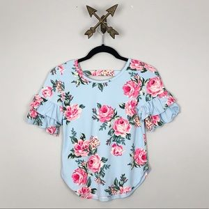 Other - Girls Blue Floral Print Top Sz L